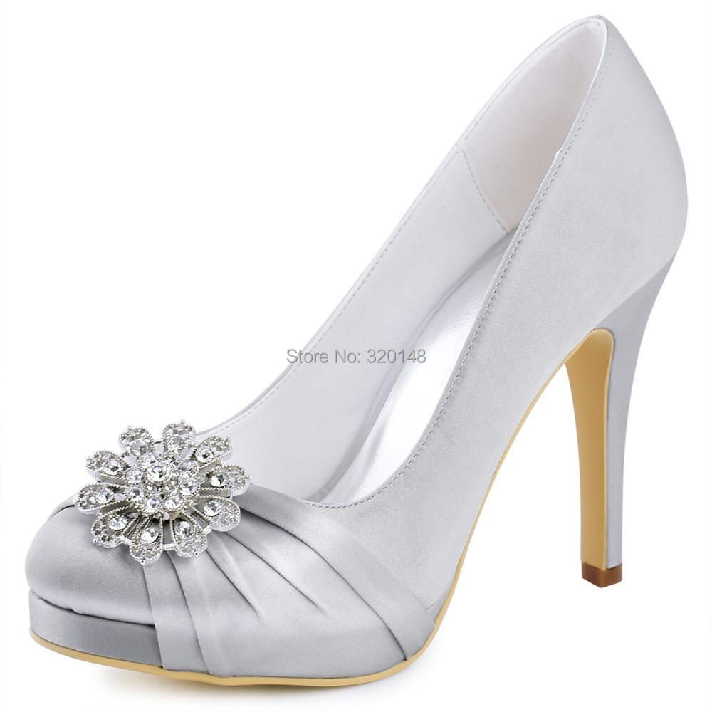 Woman Shoes Silver Navy Blue High Heel Platform Wedding Rhinestone Satin Bride Lady Prom Party Bridal Pumps White EP2015-PF-NW