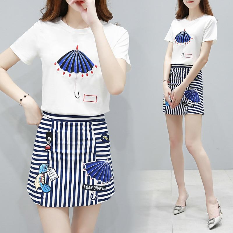2019 nya koreanska sommarkläder kvinnor tröja set o-hals bomull - Damkläder