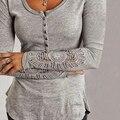 items! Fashion Women Sexy Long Sleeve Cotton Shirt Lace Loose Top Casual T-shirt