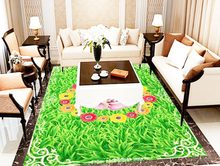 Pvc Floor Natural grass flowers 3d Fashion Wallpaper Floor Decoration Painting For Bedroom Wall paper Decor For Home(China)