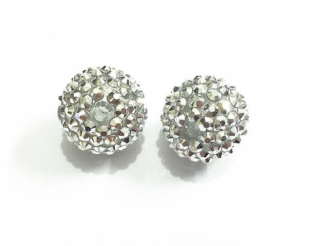 20mm 100pcs lot Silver Rhinestone On Clear Beads 648af52318dd