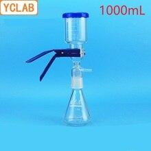 YCLAB 1000mL สูญญากาศกรองอุปกรณ์ยางหลอด 1L แก้วทราย Core Liquid ตัวทำละลายกรองอุปกรณ์