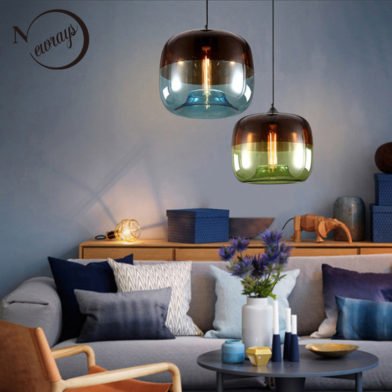 Modern Nordic Art Deco Colorful Hanging Glass Pendant Lamp Lights Fixtures E27 LED For Kitchen Restaurant