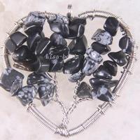 Free Shipping Fashion Jewelry Tree of life-Natural Black Snowflake Jaspe Beads Wire Wrap Heart Pendant 1Pcs RK1537