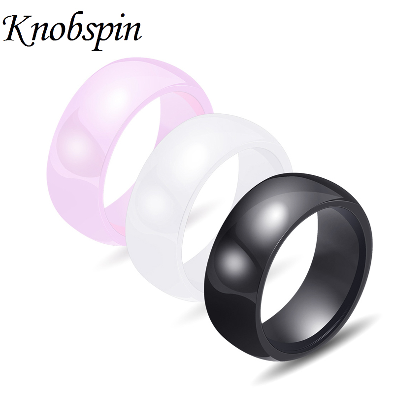 8mm Black White Pink Ceramic Ring Trendy Simple Wedding
