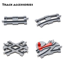 Vehicle track Sets Bricks Railway Big rail Building Blocks trailer track accessory DIY Child Toys Compatible with Duplo Car Gift