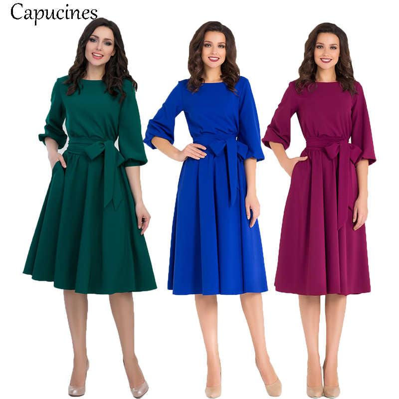 2019 été Vintage solide lanterne manches a-ligne robe femmes élégant o-cou demi manches poche ceintures genou-longueur tenue décontractée