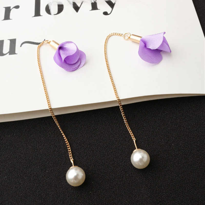 ใหม่ 8 สีดอกไม้ยาวพู่ต่างหูแฟชั่นมุกต่างหู Ear Line Elegant Wedding Party เครื่องประดับของขวัญ