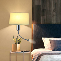Modern Wall Light Fix E27 Fabric Sconce Lamp with Flexible Gooseneck LED Lamp for Bedroom Bedside Headboard Home Decor Luminaire