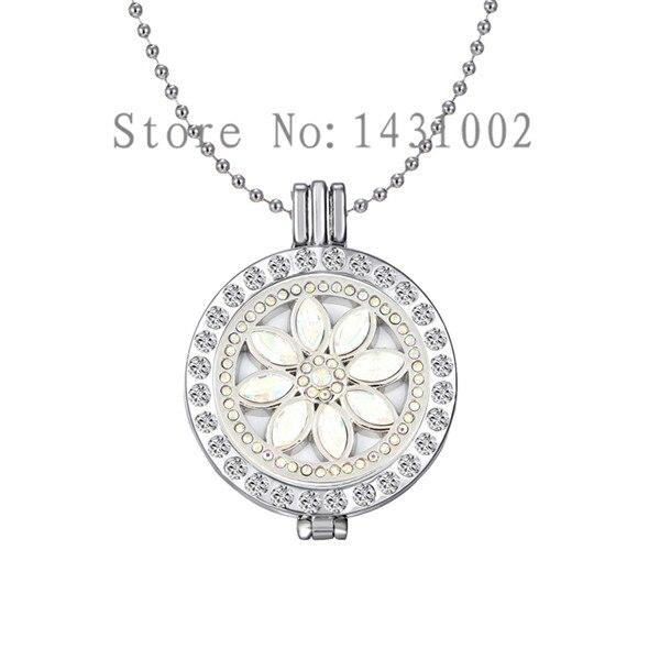 K1086 Argent Ventilateur en Forme de bohème fleur perles cage Médaillon Pendentif Chaîne