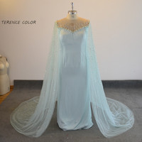 Sexy Illusion Beading Crystal Pearls Mother of the bride dresses Real Sample Evening dress New Style Cape Prom Party Gowns Wear