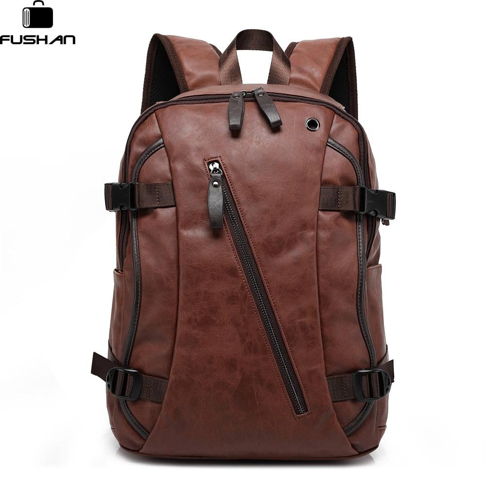 FUSHAN Men Backpacks PU Leather Waterproof Bags 15.6 Inch Laptop Backpack External USB Charge Computer Bag Mochila Feminina