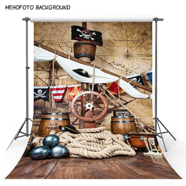 Pirate Birthday Backdrops For Photography Baby Ship Deck World Map Party Child Portrait Photo Backgrounds Photocall Photo Studio