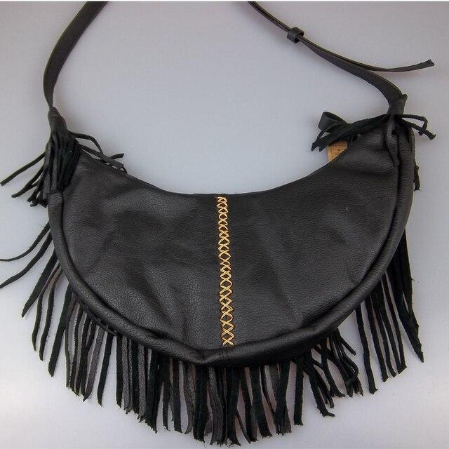 b819797eea7b 2018 New Women s Genuine Leather bags Vintage Half Moon Tassel Hippie  Hollow Out Crossbody Bag Sac