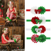 EMS/DHL Free Shipping 2018 Hot Sales !! Christmas Handmade Baby Girls Christmas Bow Feather Hair Band accessories wholesale