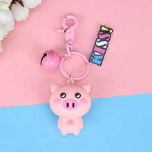 Cute Small Pig Key Chain Cartoon Animal Pvc Keychain Women Or Girl keyring Bag Charm Pendant