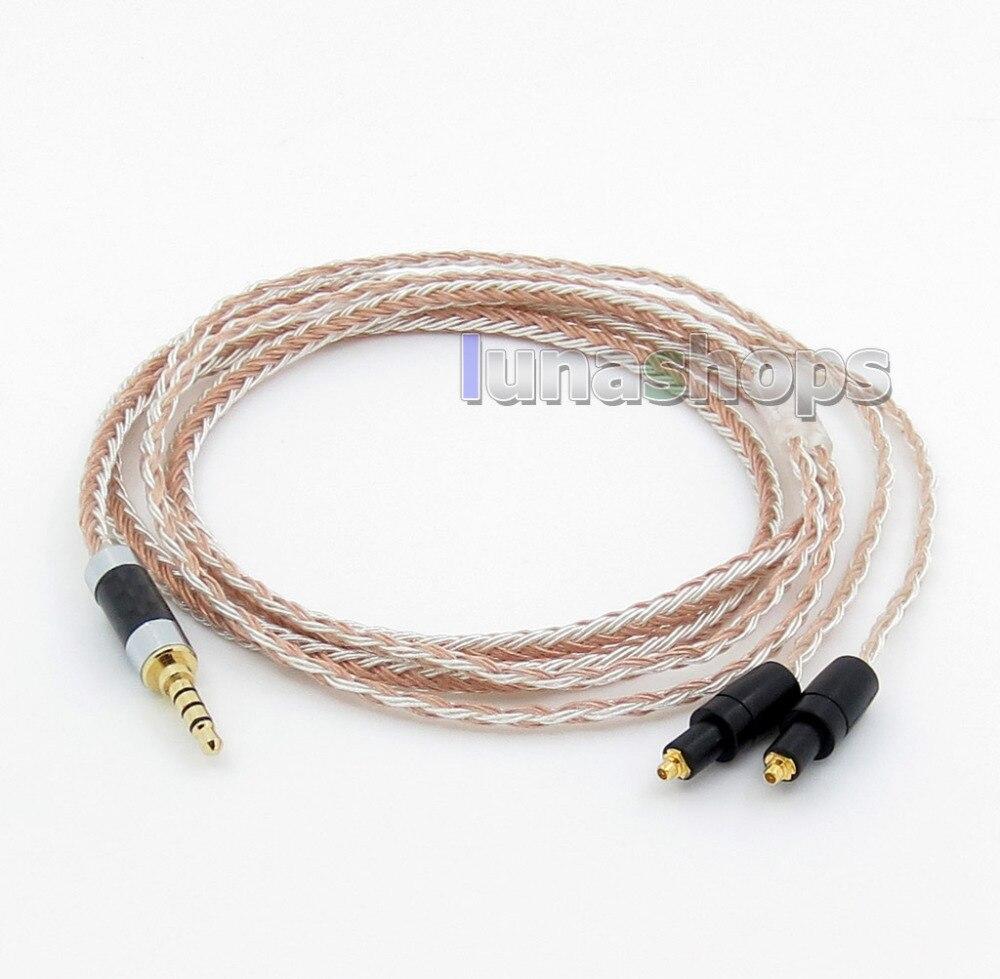 3.5mm 4 pole TRRS Opnieuw Nul Evenwichtige 16 Core OCC Zilver Gemengde Oortelefoon Kabel Voor Shure SRH1540 SRH1840 SRH1440 LN005836-in Oortelefoonaccessoires van Consumentenelektronica op  Groep 1