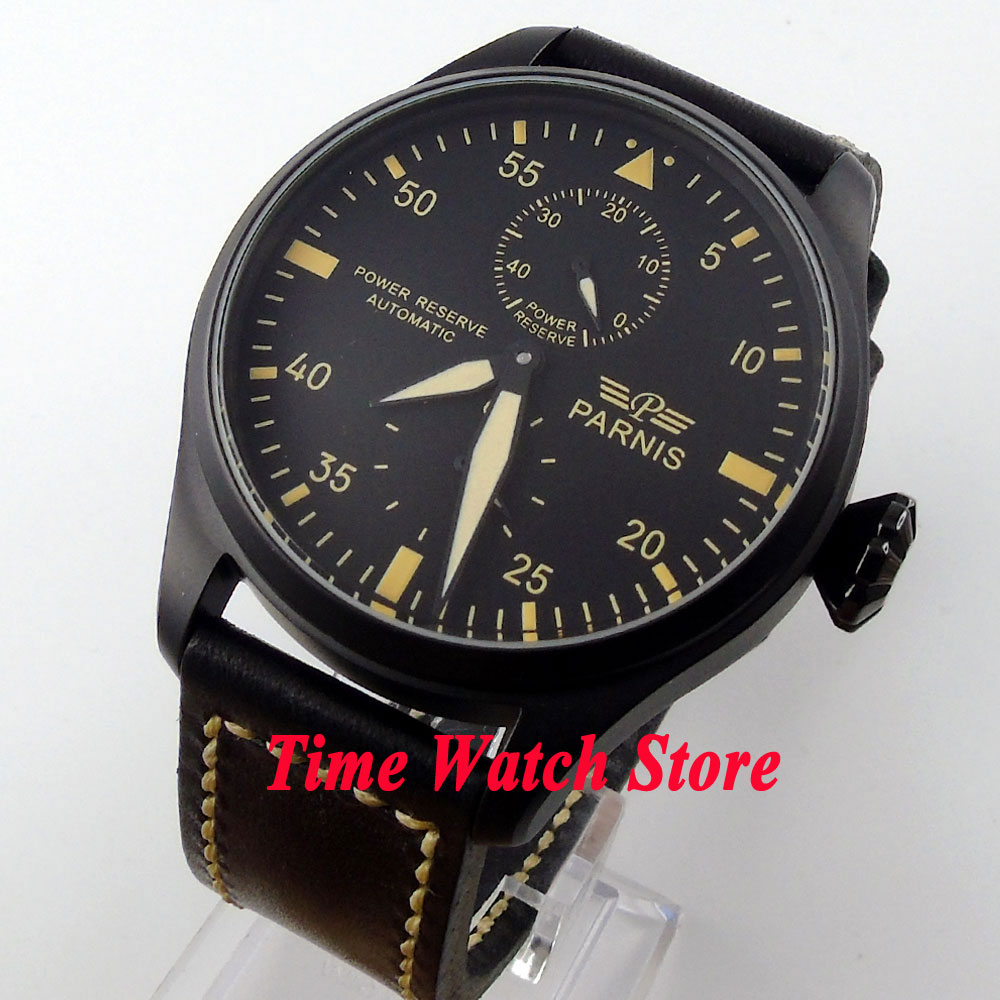 Parnis 47mm black dial yellow marks power reserve indicator PVD case Automatic movement men's watch 431 стоимость