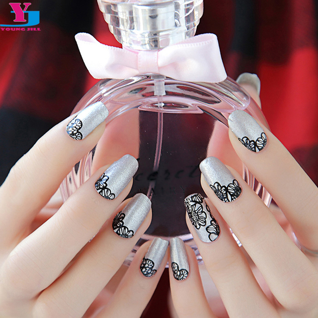 New Beautiful Flower Design Silver Nail Sticker 100% Real Nail ...
