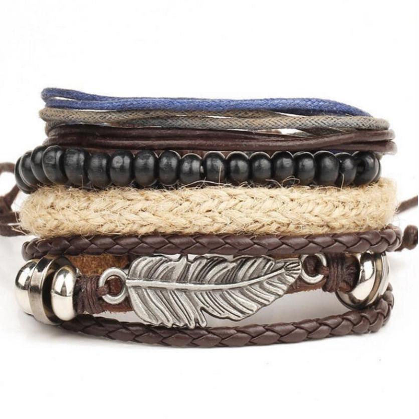 Diomedes 2018 New Men's Braided Leather Stainless Steel Cuff Bangle Bracelet Wristband Fashion bangle bracelet set 40p