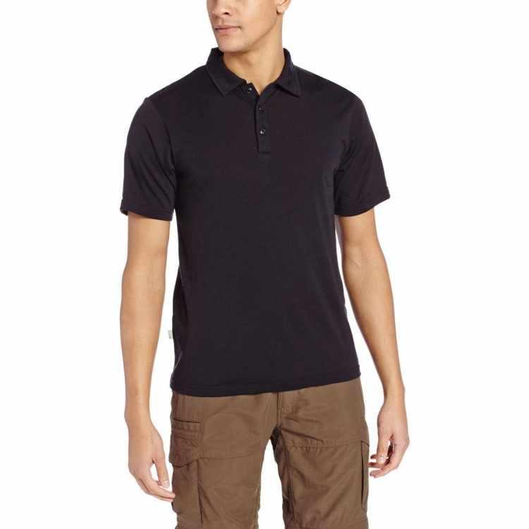f52b20355 Men's 100% Men Merino Wool Polo Shirt Short Sleeve Black POLO Shirt Outdoor  Lightweight Tee