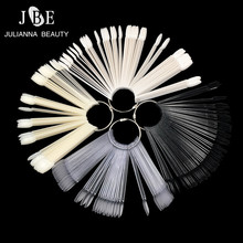 50pcs/set Round False Nail Fan Style Practice Display Nature Black Transparent White Stick Color Pops Acrylic Tip For Gel Tool