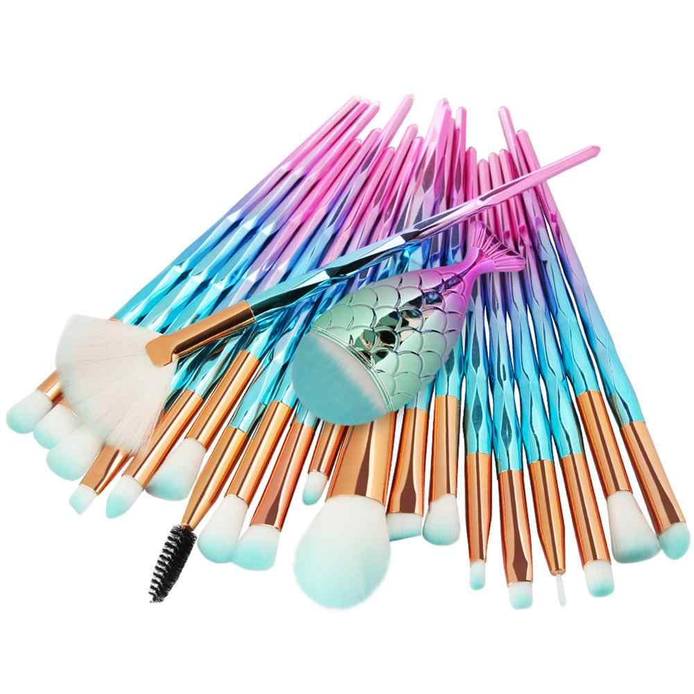 21PCS Pro Mermaid Makeup Brushes Foundation Eyebrow Eyeliner Blush Powder Cosmetic Concealer Professional Makeup Brushes Set