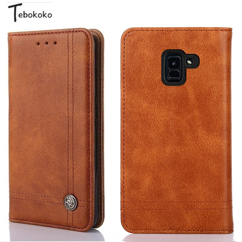 quality design f9be8 6cb2a US $4.99 |Leather Case for Samsung Galaxy A6 Plus 2018 Coque Phone Shell  Card Holder Wallet Flip Cover for Samsung Galaxy A6 2018 Funda-in Wallet ...