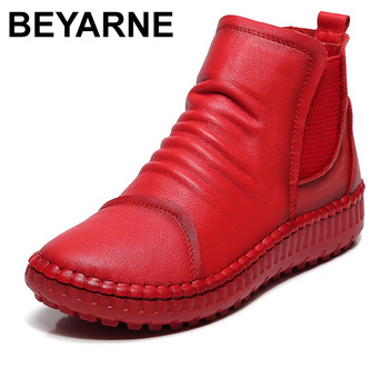 BEYARNEGenuine Leather Shoes Women Boots Autumn Winter Fashion Handmade Ankle Boots Warm Soft Outdoor Casual Flat ShoesWomanE264