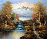 Decorative Art Oil Paint Painting by Hand Landscape Wall Painting on Canvas North View of Mountains Home Decor Art Handpainted