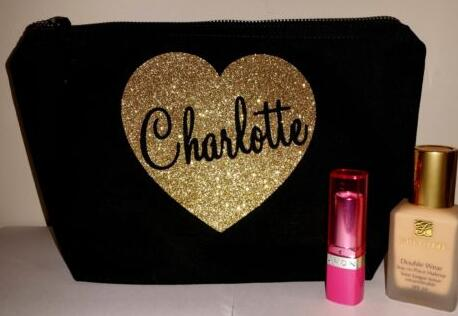 Personalised Names Glitter Heart Bridesmaid Wedding Gift Make Up