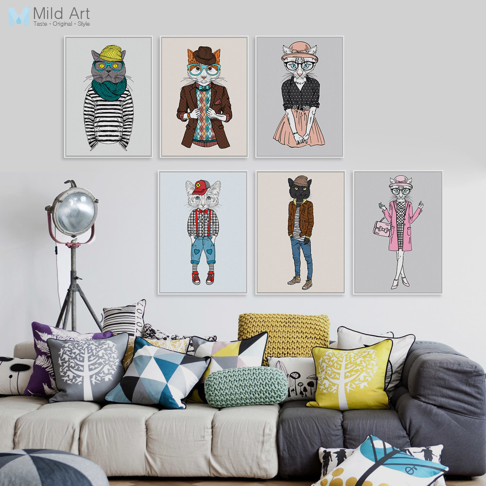 Modern Fashion Animals Cartoon <font><b>Hippie</b></font> Cat Art Print Poster <font><b>Home</b></font> Wall Picture Canvas Painting Kids Room <font><b>Home</b></font> <font><b>Decoration</b></font> No Frame