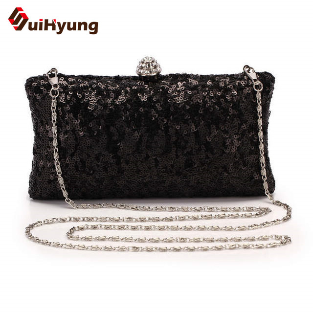 Free Shipping Vintage Beading Women's Party Evening Bags Sequins Wedding Day Clutch Small Purse Ladies Shoulder Chain Handbags