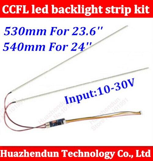 1 set 23.6 530mm 1 set 540mm 24 réglable luminosité led kit de bande de rétro-éclairage, Mise À Jour pouces LCD ccfl panneau à rétroéclairage LED