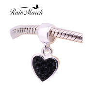 Black Cubic Zirconia Heart Charm Pendant 925 Sterling Silver Jewelry Fits For Pandora Bracelets Free Shipping