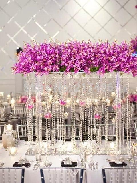 Бесплатная доставка, прозрачный Высокая жардиньерка/ваза для цветов для свадебного стола, центровое обеспечение для банкета, свадебные укр