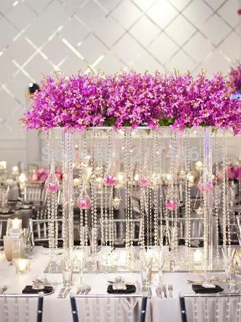 Home Decor 68cm Tall Clear Acrylic Crystal Flower Stand Table Centerpiece