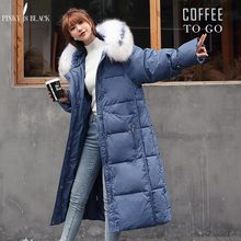 PinkyIsBlack 2019 New Arrival Big Fur Slim X-Long Women Winter Jacket Cotton Padded Warm Thicken Ladies Coat Long Coats Parkas 2018 new arrival winter jacket women fur collar hooded warm thicken female slim long parkas coats women cotton padded outwear