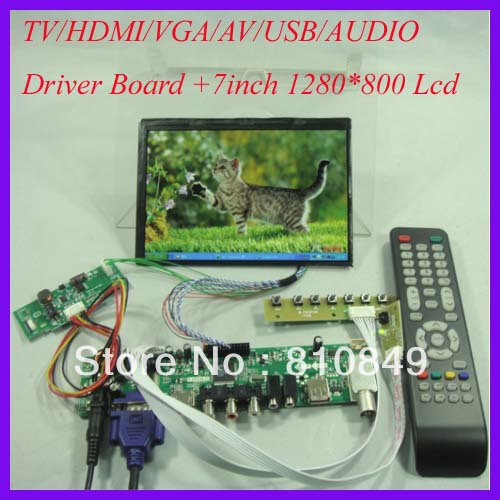 все цены на  TV/PC/HDMI/CVBS/RF/USB/AUDIO LCD driver Board+7inch N070ICG-L21 1280*800 IPS LCD  онлайн