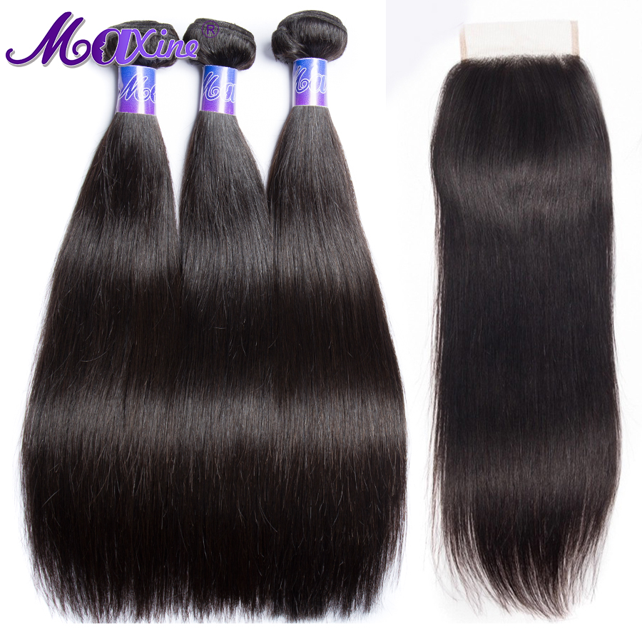 Straight Hair Bundles With Closure Peruvian Human Hair Bundles With Closure 3 Bundles And Closure Remy