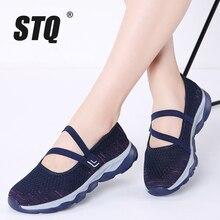 STQ 2020 été femmes plate forme chaussures femmes baskets respirantes et décontractées chaussures sans lacet chaussures de marche plates pour les femmes 929