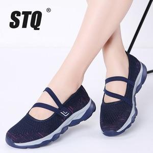 Image 1 - STQ 2020 קיץ נשים שטוח פלטפורמת נעלי נשים לנשימה מזדמנים סניקרס נעליים להחליק על שטוח של נעלי נשים 929