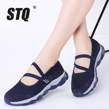 Stq 2020 verão mulher sapatos de plataforma plana respirável tênis casuais sapatos deslizamento em sapatos de caminhada plana para mulher 929