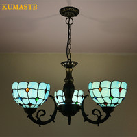 3 Heads Blue Stained Glass Chandeliers For Bedroom Dinning Room Lamp Aisle Stairs Balcony Suspension Lighting Fixture