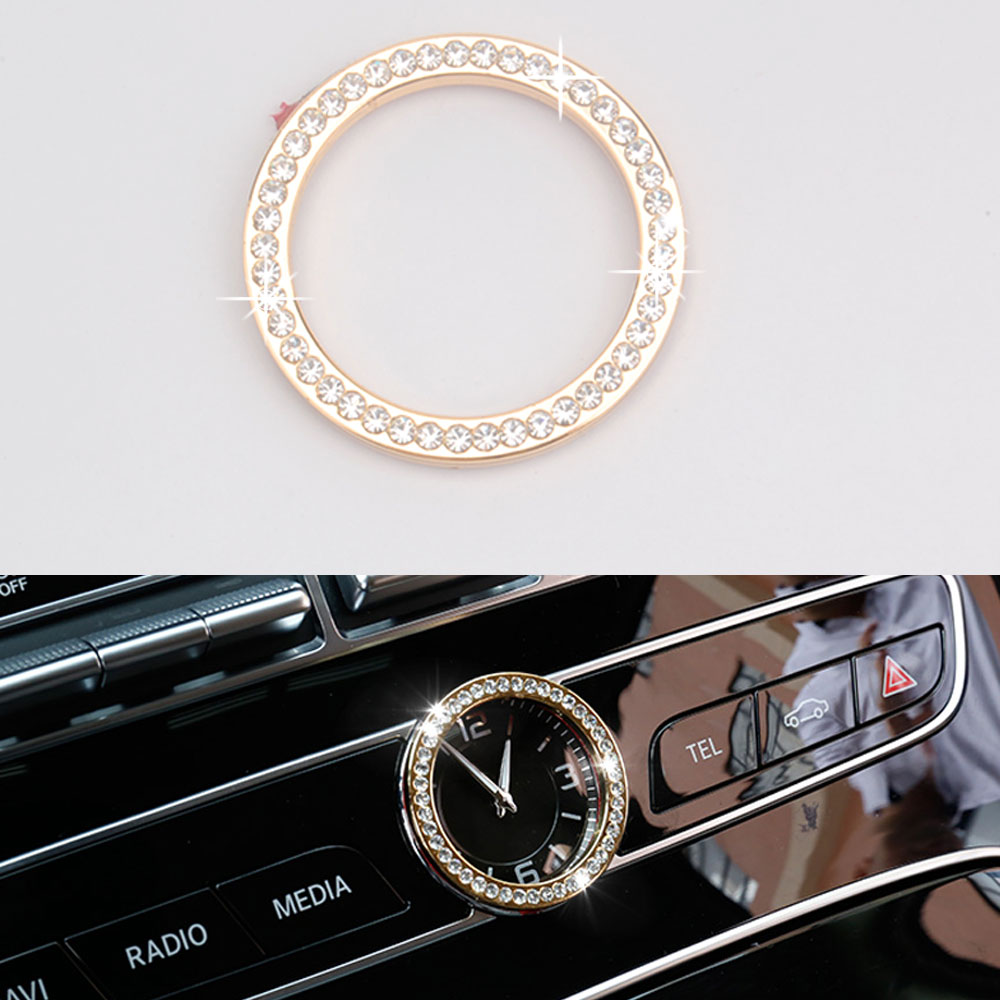 Dash Console Time Watch Clock Cover Trim Decoration Diamond Ring Sticker Car Styling For Mercedes Benz C Class C200L C180Li 2015