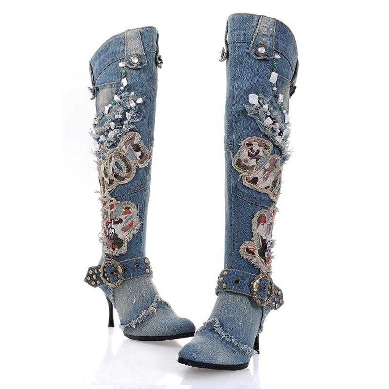 Zobairou Appliques Blue Denim Boots For Women Girls Cowboy Boots Overknee Thigh High Bot ...