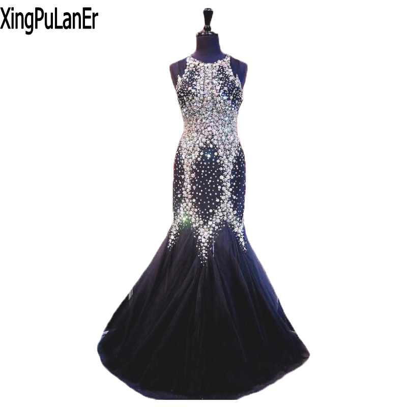 US $169.15 15% OFF|Shiny Stunning Fabulous Mermaid Pageant Dresses with  Crystals O Neck Black Evening Dresses Plus Size Prom Dresses with  Crystal-in ...