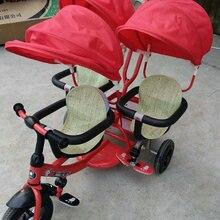 Трехместная детская коляска с зонтиком, трехколесный велосипед для детей, трехместная детская коляска