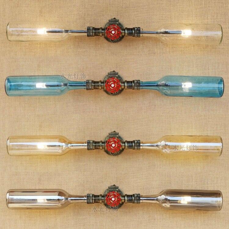 Lampes murales en verre de tuyau d'eau de bouteille de vin rétro barre décorative restaurant double têtes Loft lampes murales industrielles de fer de vent ZA