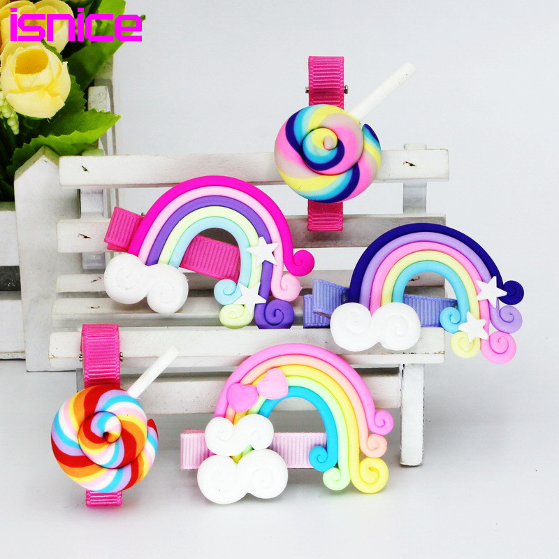 isnice Gum For Kids Hair Accessories 5cm Hair Clips Summer Fashion Rainbow Lollipop Girls Hair Accessories Clip Hairpin Barrette never marble binder clips gold metal clips document paper clips with clip holder fashion office accessories school supplies